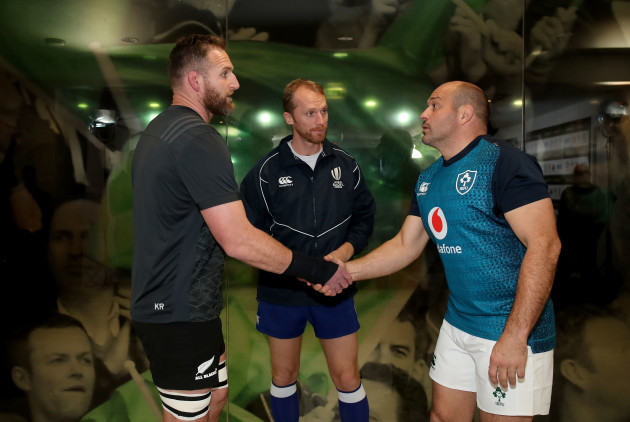 Kieran Read, Wayne Barnes and Rory Best during the coin toss