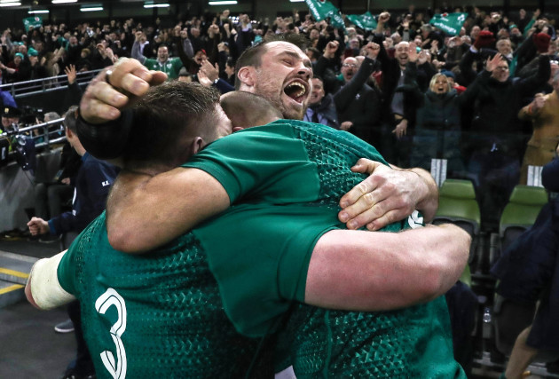 Cian Healy, Tadhg Furlong and Rory Best celebrate winning