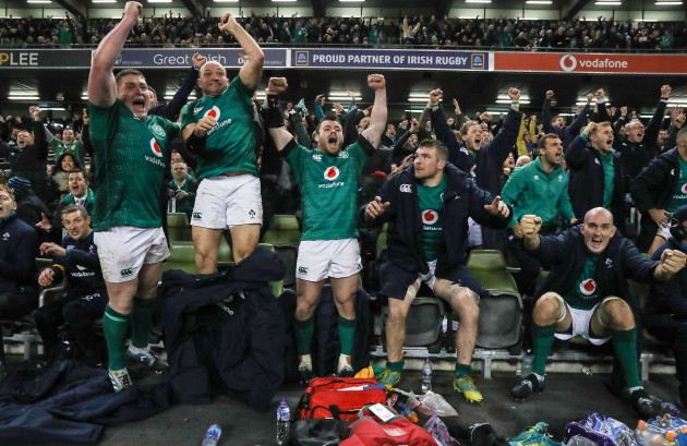 Tadhg Furlong, Rory Best, Cian Healy, Peter O'Mahony and Devin Toner celebrate winning