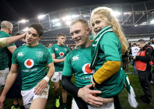 Joey Carbery celebrates winning with Keith Earls and his daughter Ellie May