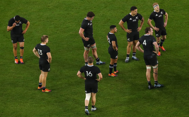 New Zealand dejected at the end of the game