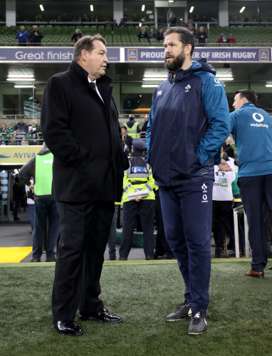 Steve Hansen and Andy Farrell before the game
