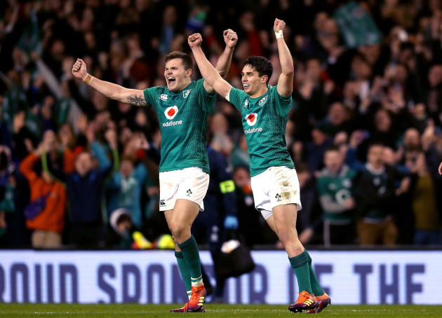 Jacob Stockdale and Joey Carbery celebrate at the final whistle