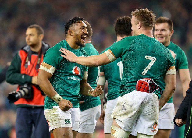 Bundee Aki and Josh van der Flier celebrate after the game