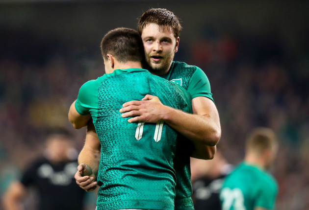 Iain Henderson and Jacob Stockdale embrace after the game