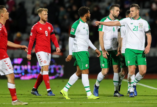 Cyrus Christie, Shane Duffy and Kevin Long leave the pitch at half time