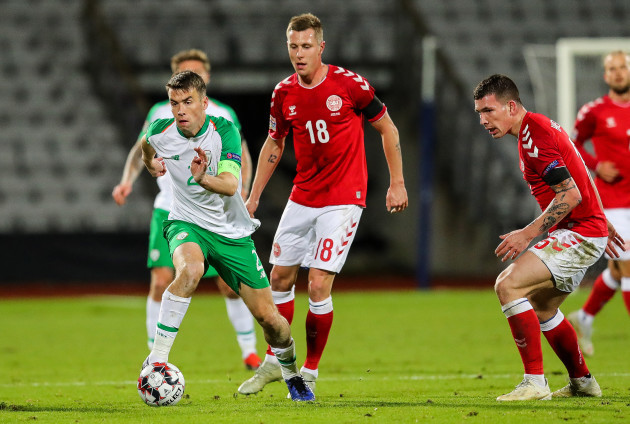 Seamus Coleman with Lukas Lerager and Pierre Emile Hojbjerg