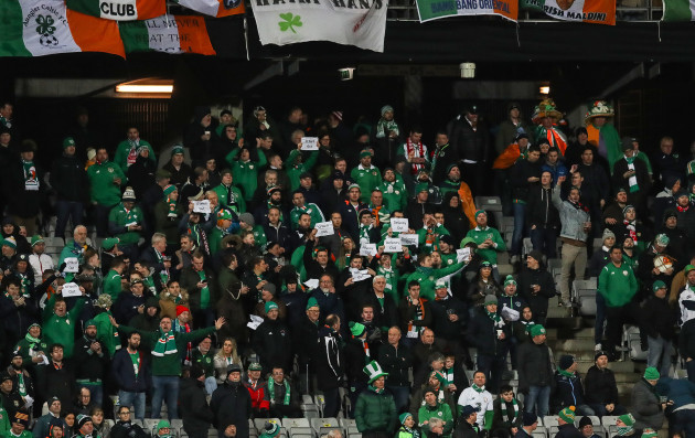 Ireland fans display 'Delaney Out' signs in the crowd