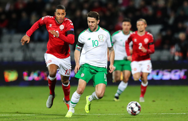 Robbie Brady with Mathias Jorgensen