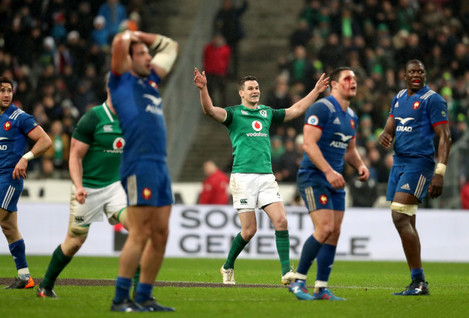 Johnny Sexton celebrates kicking the winning drop goal