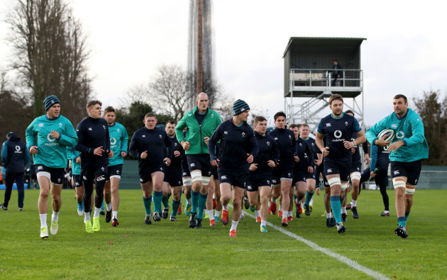 A view of the Ireland squad during training