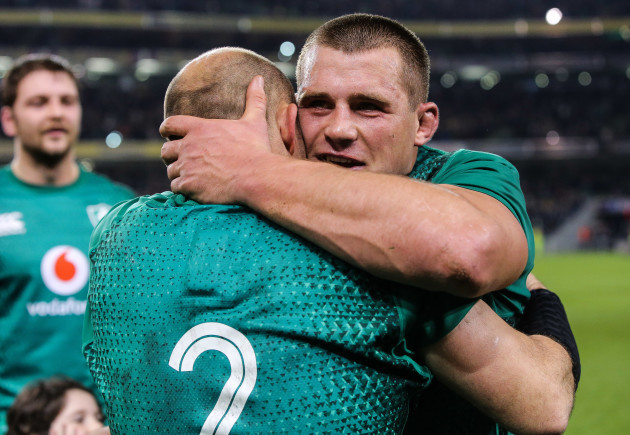 CJ Stander and Rory Best celebrate after the game