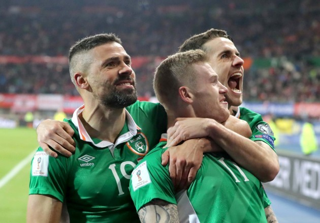 James McClean celebrates scoring the opening goal of the game with Jon Walters and Robbie Brady