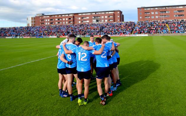 The Dublin team huddle