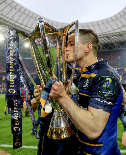 Jonathan Sexton celebrates with the European Rugby Champions Cup trophy