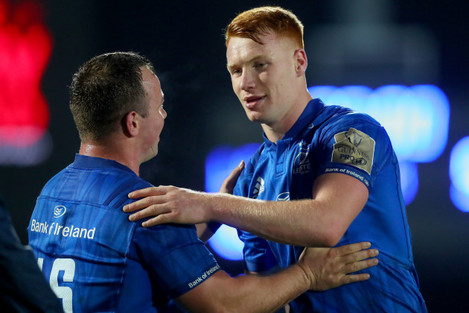 Ciaran Frawley celebrates after the game with Bryan Byrne