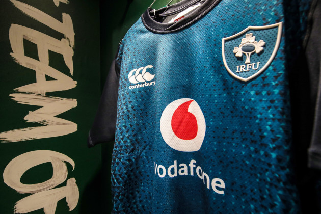 A view of the Ireland jerseys in the dressing room ahead of today's game