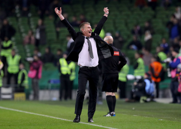 Stephen Kenny celebrates the final whistle