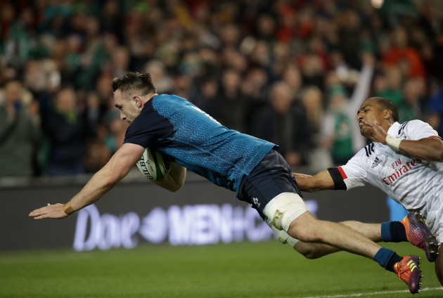 Jack Conan dives in to score their third try