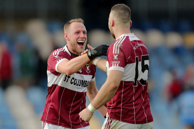 Conan Brady and Aidan McElligott celebrate at the final whistle