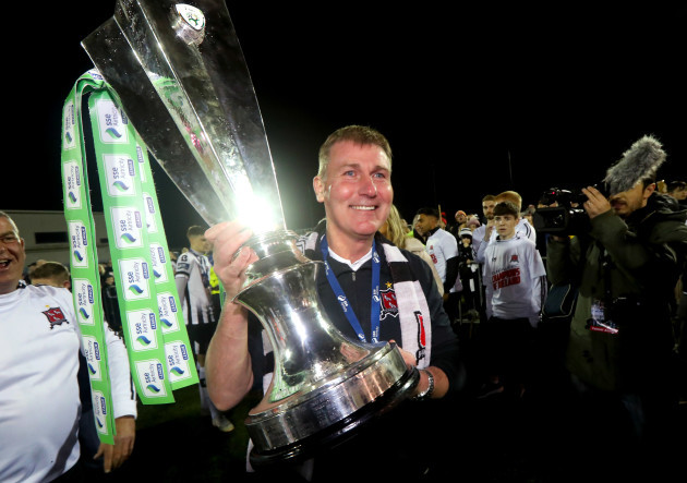 Stephen Kenny celebrates with the trophy