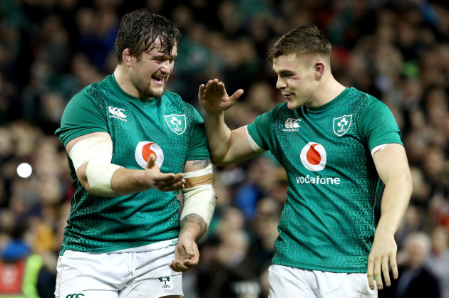 Andrew Porter and Garry Ringrose celebrate after the game
