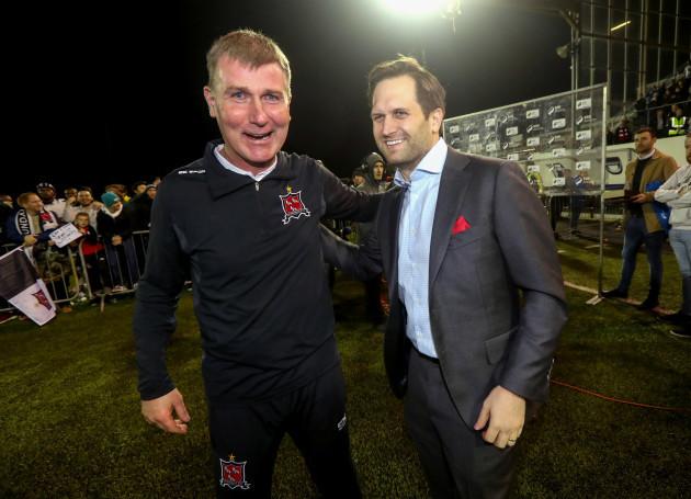 Stephen Kenny celebrates with Mike Treacy