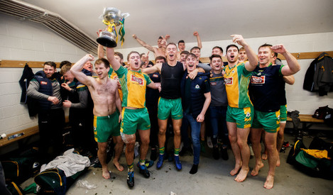 Corofin celebrate winning in the changing room