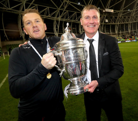 Stephen Kenny and Vinny Perth celebrate with The Irish Daily Mail FAI Cup