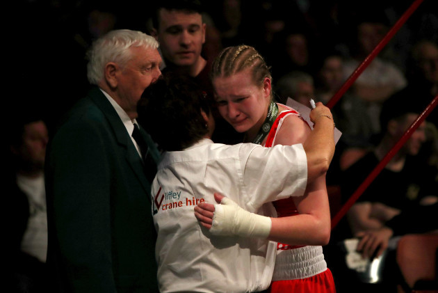 Amy Broadhurst dejected after losing to Kelly Harrington