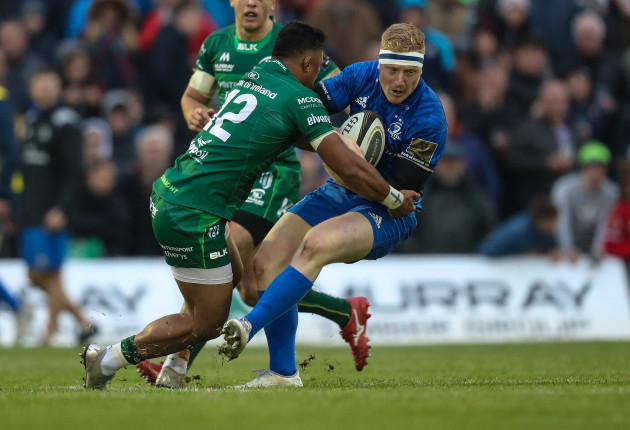 Leinsters James Tracy is tackled by Connacht's Bundee Aki