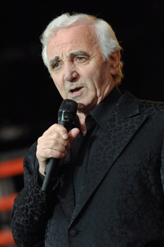 Charles Aznavour performs live on stage