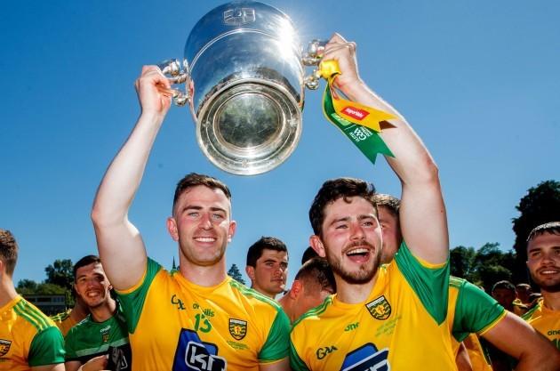 Patrick McBrearty and Ryan McHugh celebrate