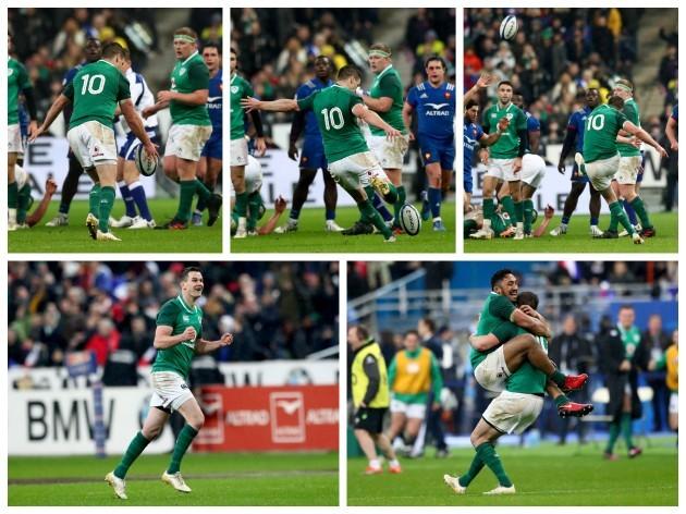 Johnny Sexton kicks the winning the drop goal