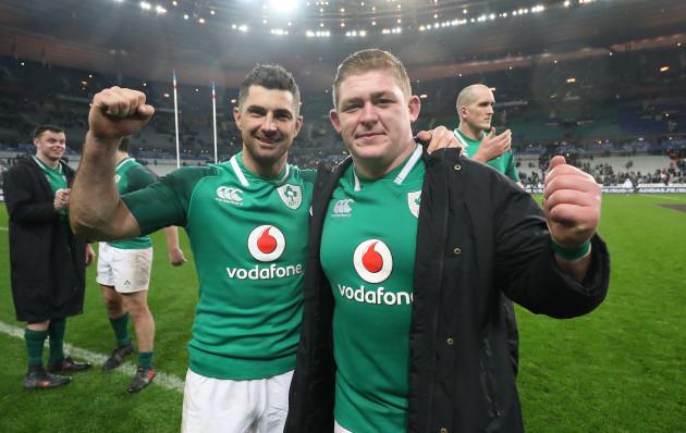 Rob Kearney and Tadhg Furlong celebrate winning