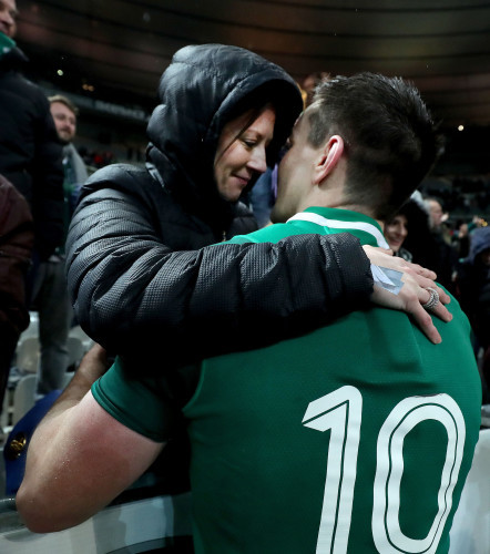 Johnny Sexton celebrates with his wife Laura after the game