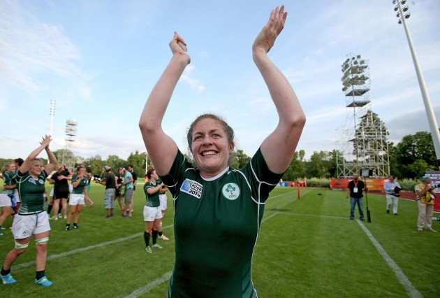 Fiona Coghlan celebrates after the game
