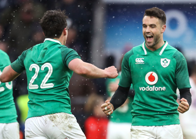 Joey Carbery and Conor Murray celebrate winning