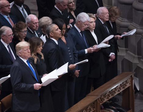 United States President Donald J. Trump and First Lady Melania Trump attend the state funeral service of former President George W. Bush at the National Cathedral.