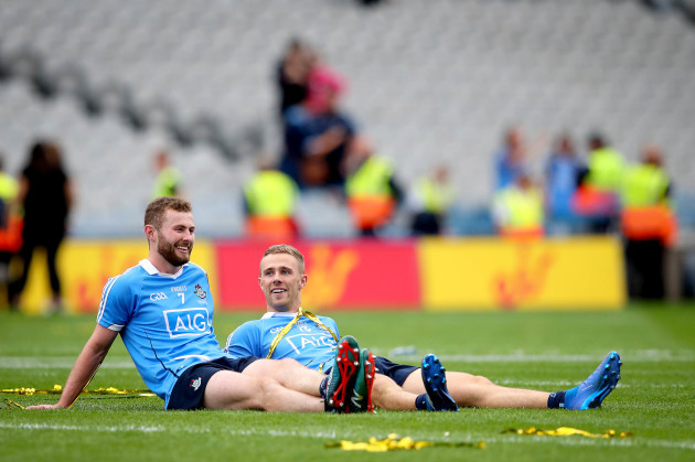 Jack McCaffrey and Paul Mannion take in the celebrations