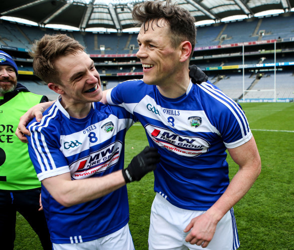 Ross Munnelly and John O'Loughlin celebrate the win