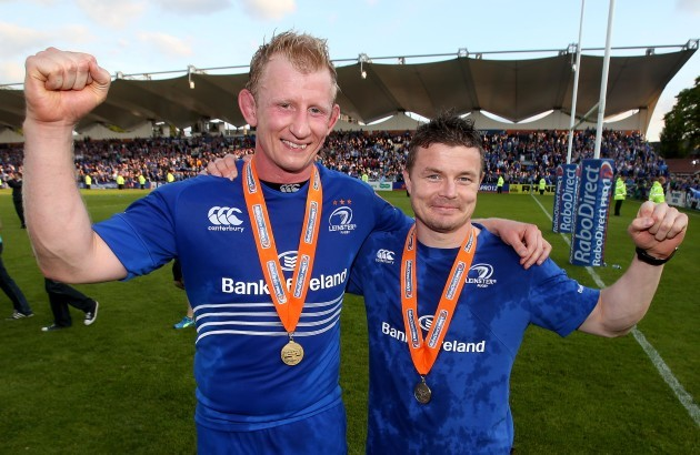 Brian O'Driscoll and Leo Cullen celebrate winning