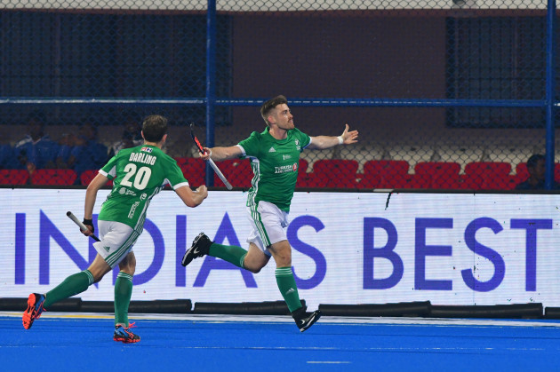 Shane O'Donoghue celebrates his goal with Michael Darling