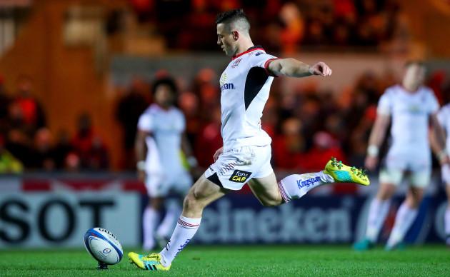 John Cooney kicks a penalty