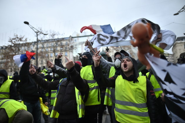 Yellow Vests demonstration on Champs Elysees - Paris