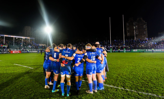 Leinster huddle after the game