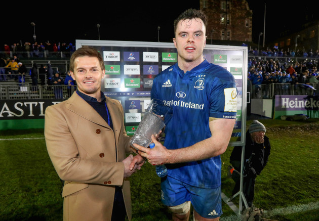 James Ryan is presented with his man of the match award by Scott Marshall