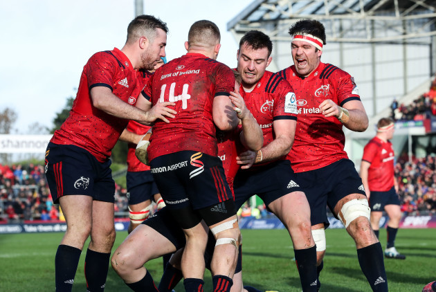 Rory Scannell celebrates scoring his sides first try with JJ Hanrahan, Andrew Conway, Niall Scannell and Billy Holland