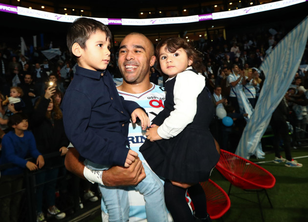 Simon Zebo with his kids Jacob and Sofia after the game