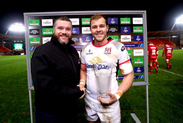 Will Addison is presented the Heineken man of the match award by Richard Taylor